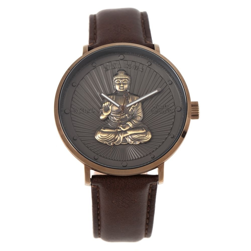 Relógio Analógico Unissex Loucuras da Nobreza Buda Marrom Escuro RE.CR.0465-0147