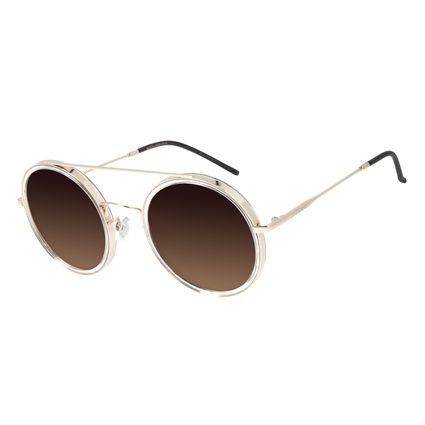 Óculos de Sol Feminino Chilli Beans Trend Redondo Dourado OC.CL.3052-5721