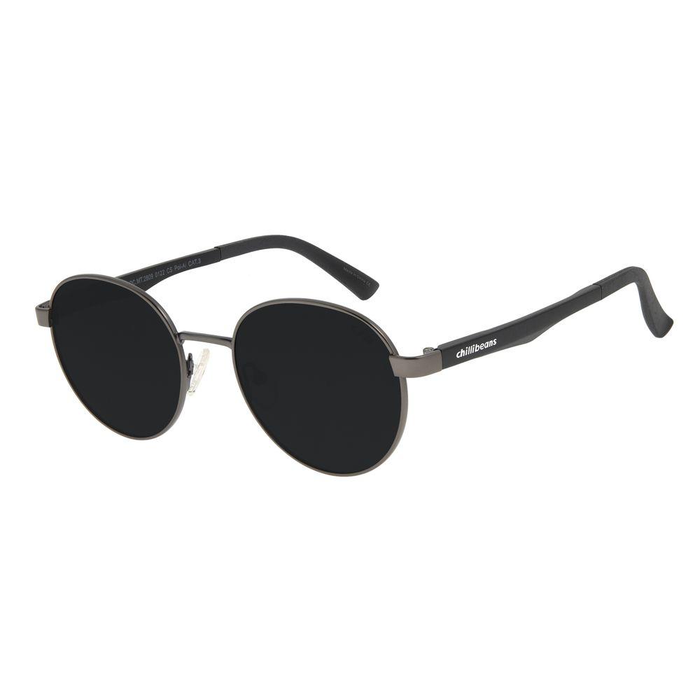 Óculos de Sol Unissex Chilli Beans Redondo Ônix OC.MT.2809-0122