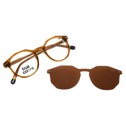 Armação Para Óculos de Grau Unissex True Color Multi Polarizado Marrom LV.MU.0432-0202