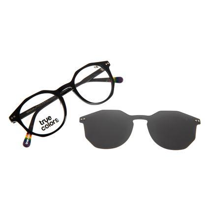 Armação Para Óculos de Grau Unissex True Color Multi Polarizado Preto LV.MU.0432-0401