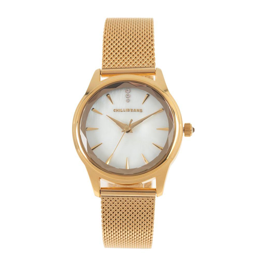 Relógio Analógico Feminino Chilli Beans Facetado Cristal Dourado RE.MT.1142-1921