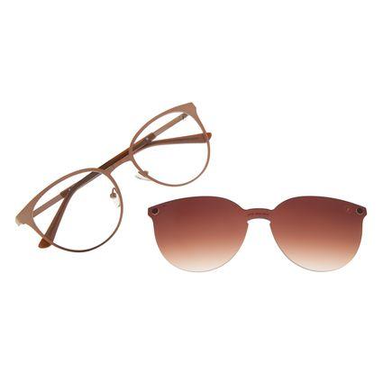 Armação Para Óculos de Grau Feminino Chilli Beans Multi Essential Metal Marrom LV.MU.0429-5702