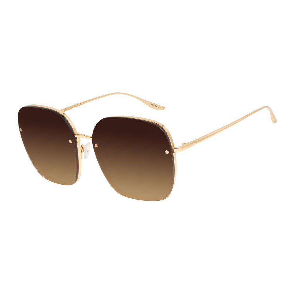 Óculos de Sol Feminino Alexandre Herchcovitch Banhado a Ouro Dourado OC.MT.2957-5721