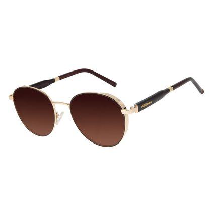 Óculos de Sol Feminino Chilli Beans Quadrado Flap Degradê Marrom Banhado a Ouro  OC.MT.2919-5721