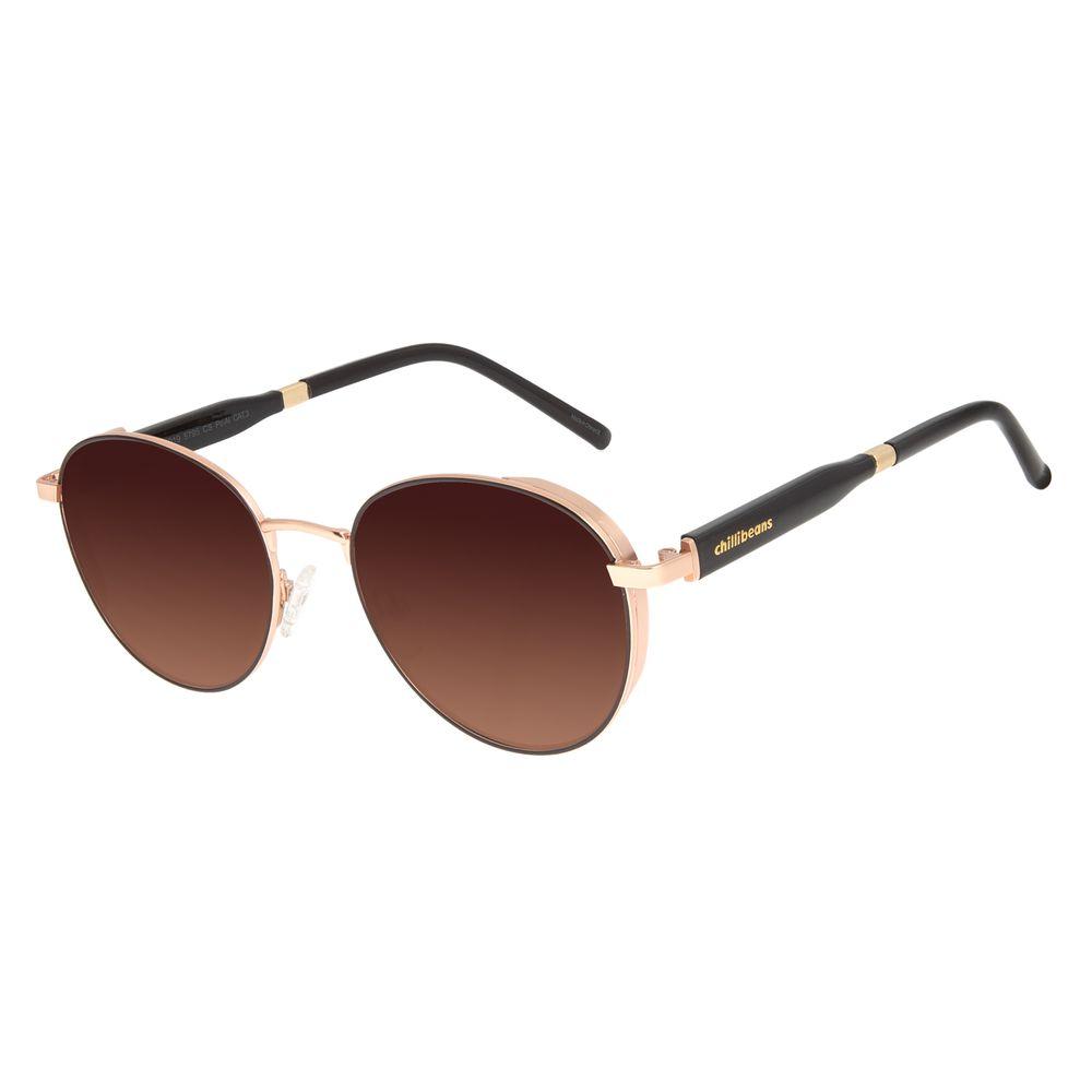 Óculos de Sol Feminino Chilli Beans Quadrado Flap Rosé Banhado a Ouro OC.MT.2919-5795