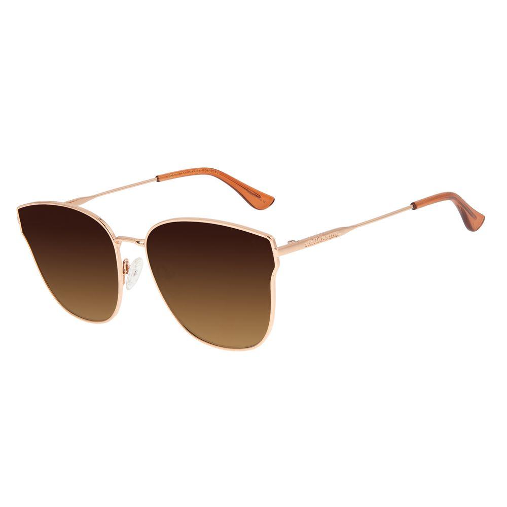 Óculos de Sol Feminino Chilli Beans Gatinho Degradê Marrom Banhado a Ouro OC.MT.2918-5795