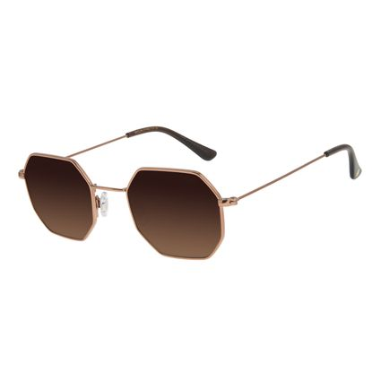 Óculos de Sol Unissex Chilli Beans Hexagonal Marrom OC.MT.2910-5702