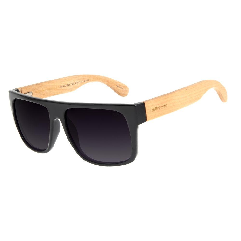 Óculos de Sol Masculino Chilli Beans Essential Bamboo Escuro Polarizado OC.CL.3003-2038