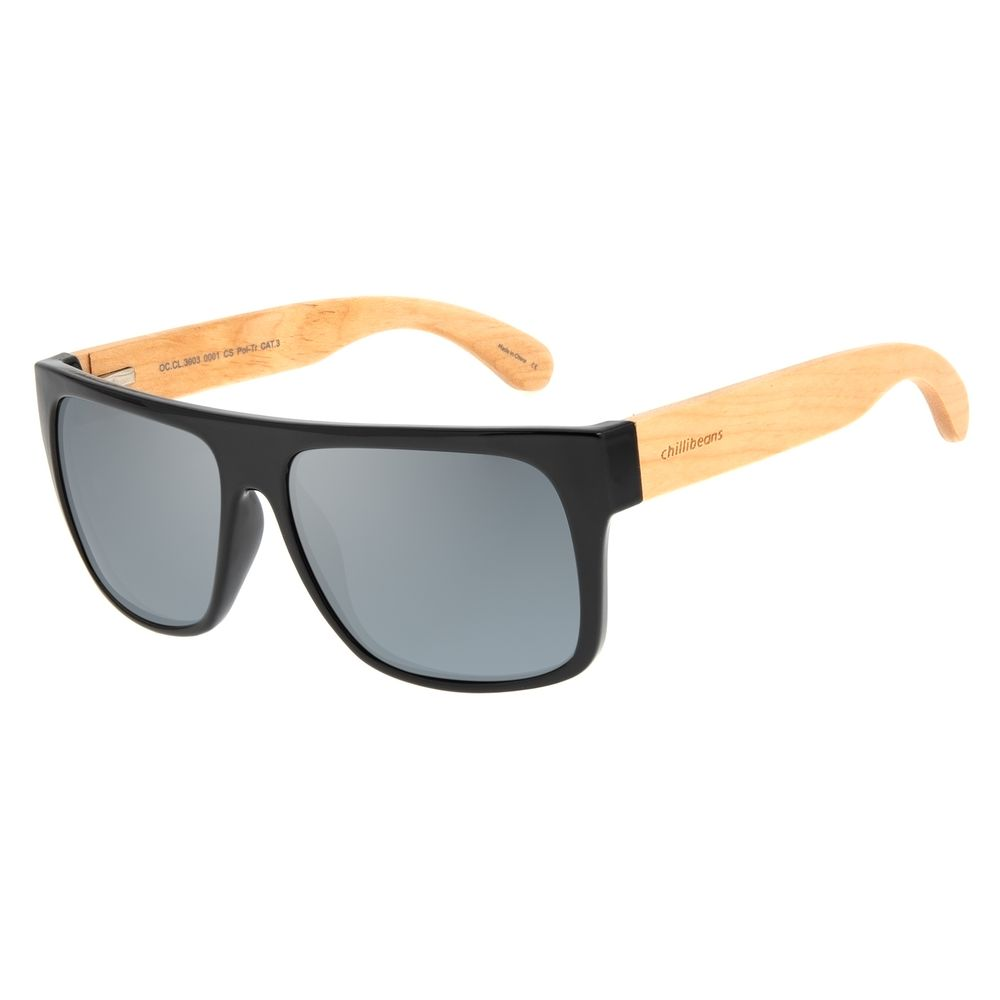 Óculos de Sol Masculino Chilli Beans Essential Bamboo Flash Polarizado OC.CL.3003-0001