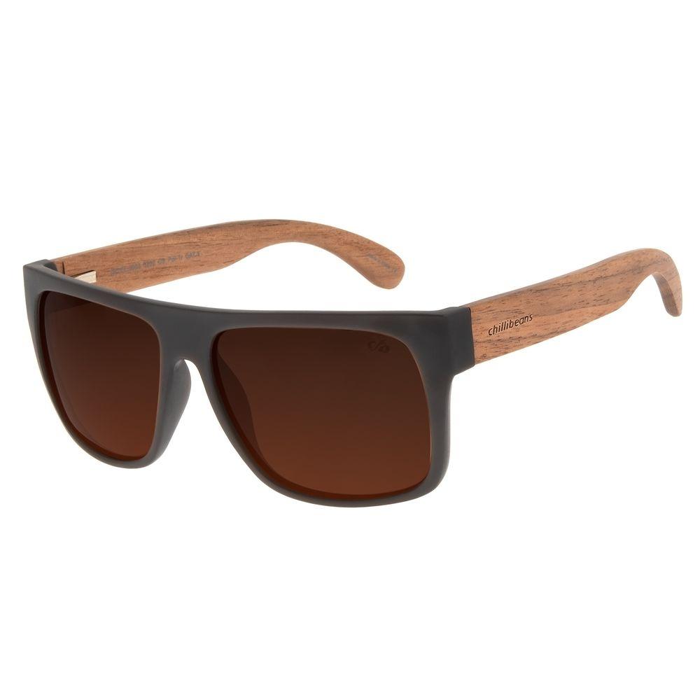 Óculos de Sol Masculino Chilli Beans Essential Bamboo Marrom Polarizado OC.CL.3003-0202