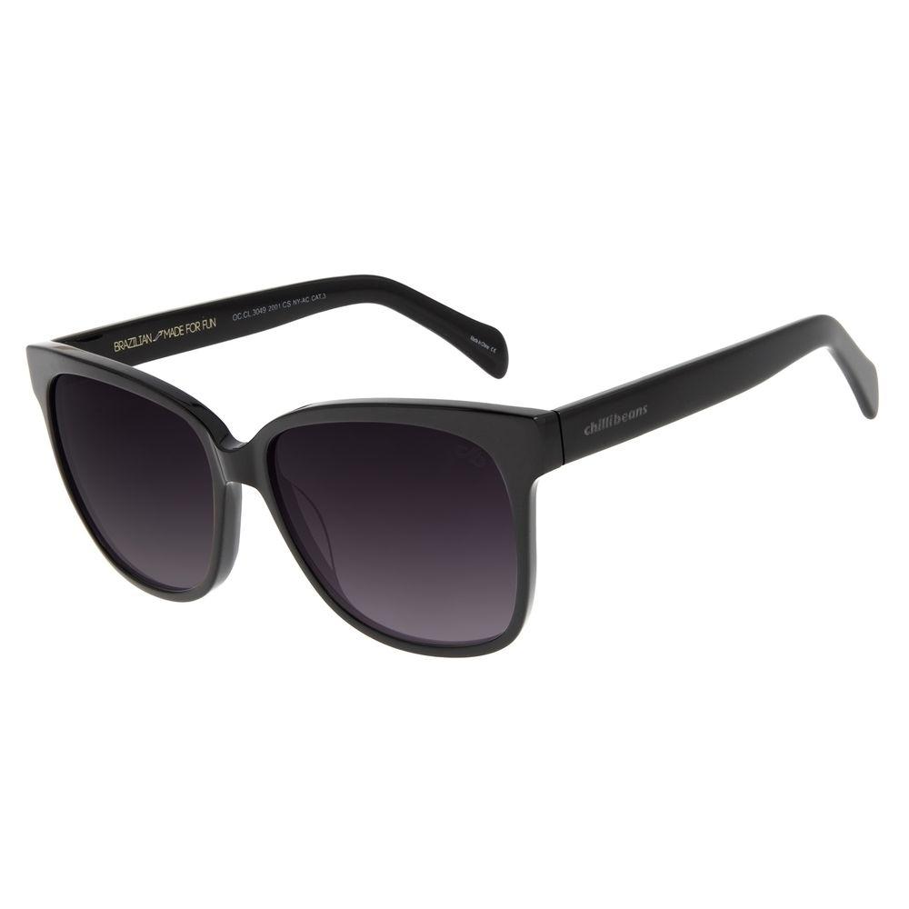 Óculos de Sol Feminino Chilli Beans Quadrado Casual Preto OC.CL.3049-2001