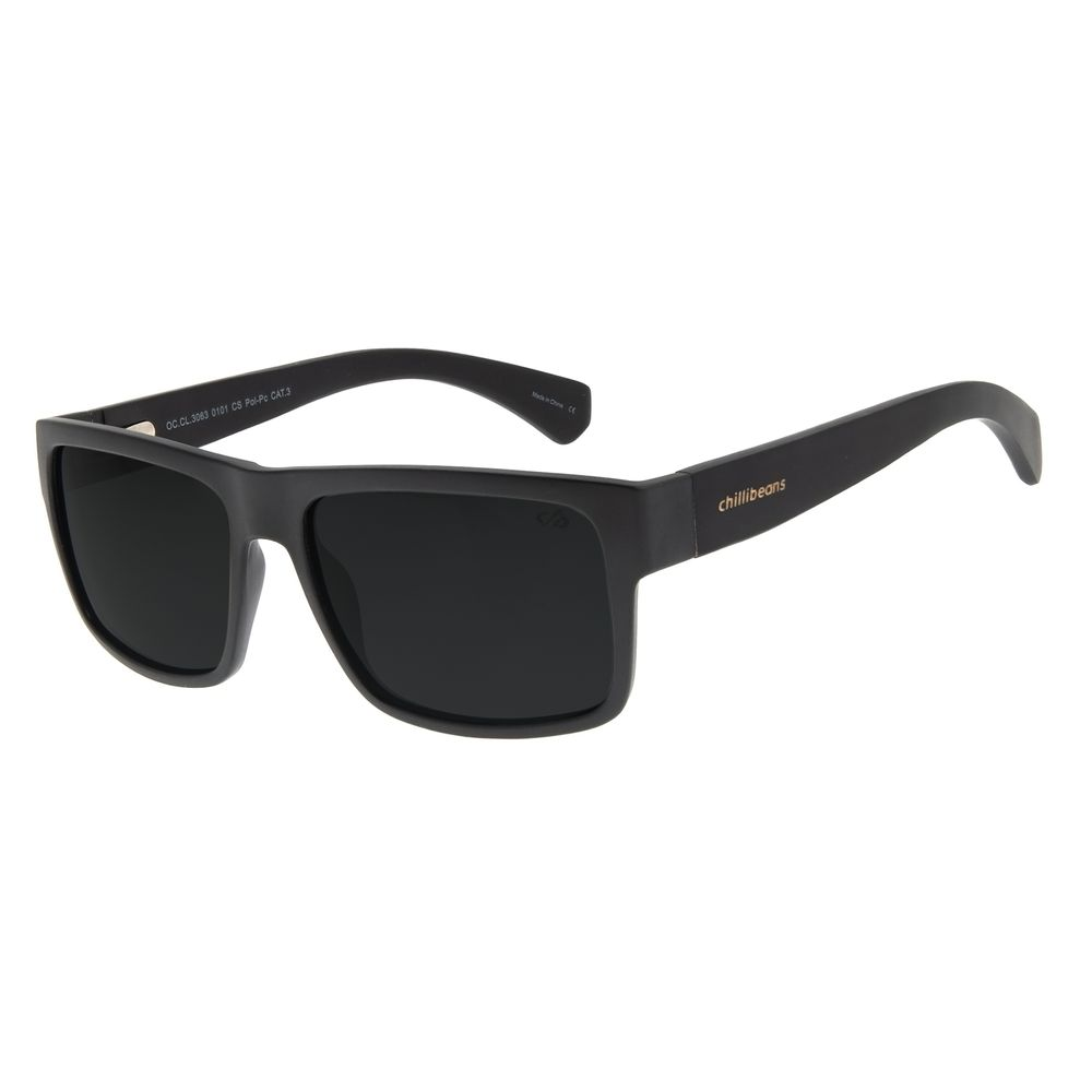Óculos de Sol Masculino Chilli Beans Bamboo Bossa Nova Preto Polarizado OC.CL.3063-0101
