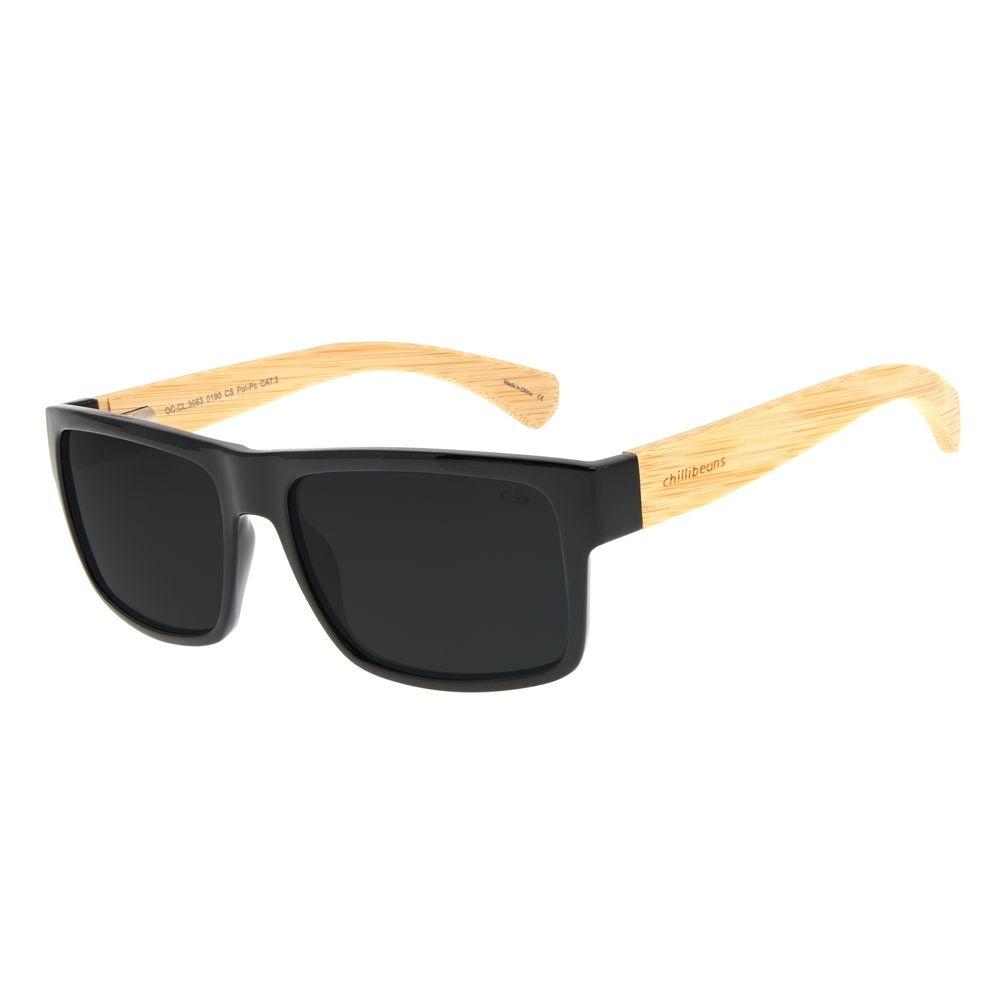 Óculos de Sol Masculino Chilli Beans Bamboo Bossa Nova Azul Escuro Polarizado OC.CL.3063-0190