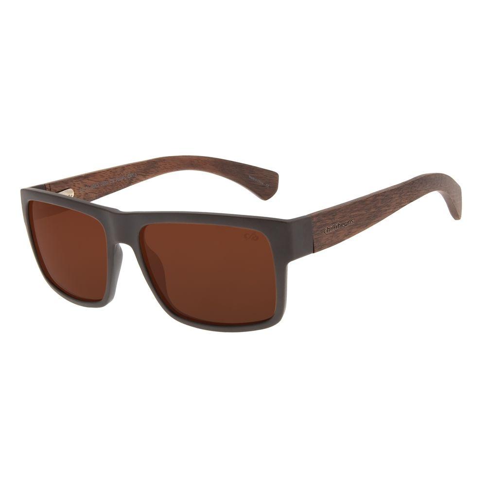 Óculos de Sol Masculino Chilli Beans Bamboo Bossa Nova Marrom Polarizado OC.CL.3063-0202