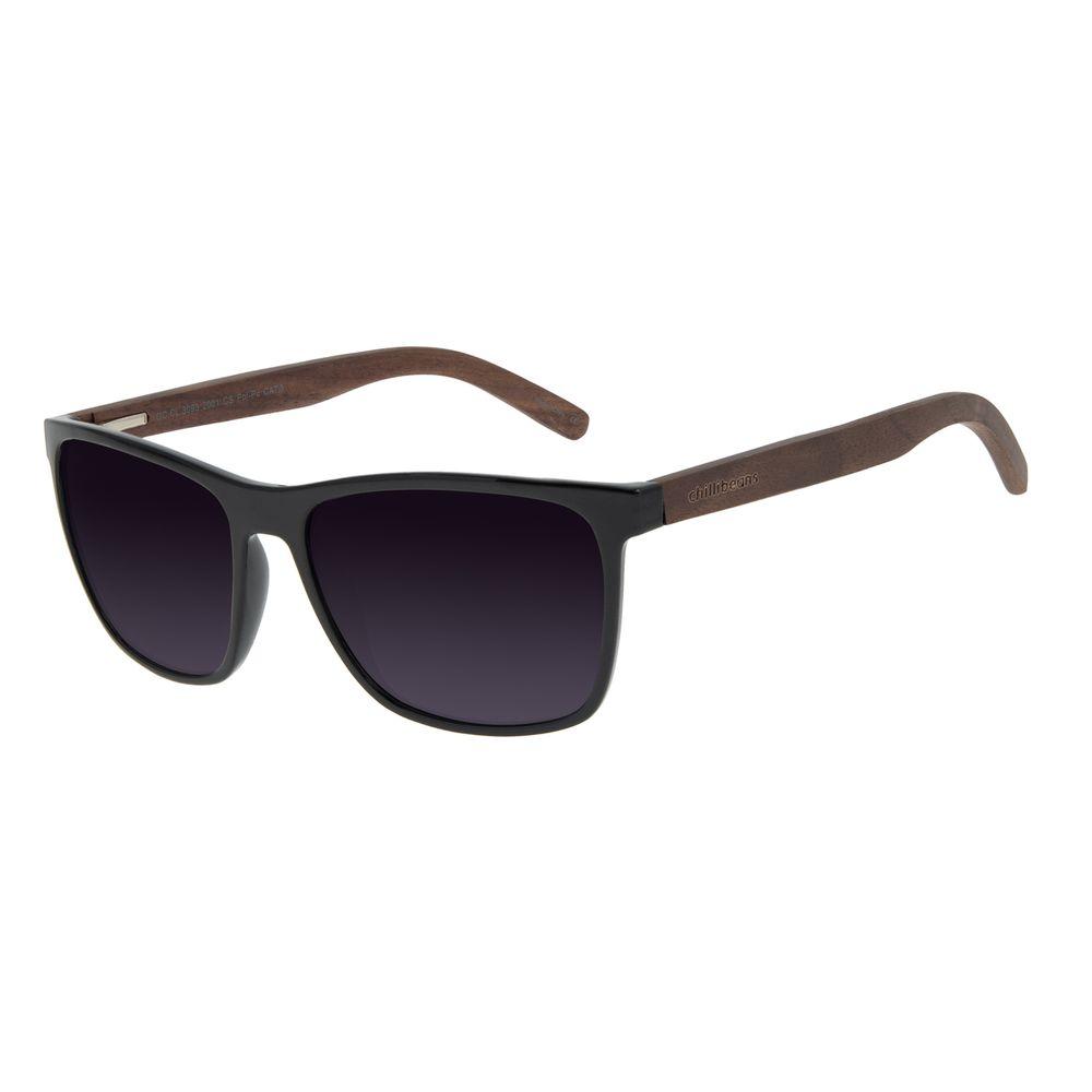 Óculos de Sol Masculino Chilli Beans Bamboo Bossa Nova Preto Polarizado OC.CL.3093-2001