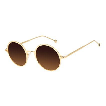 Óculos de Sol Feminino Chilli Beans Redondo Degradê Marrom Banhado a Ouro OC.MT.2868-5721