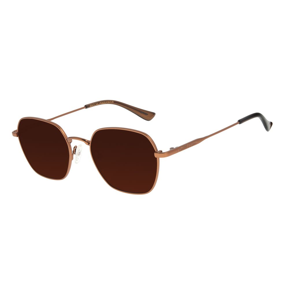 Óculos de Sol Unissex Lollapalooza Brasil Colors Redondo Marrom OC.MT.2818-0202