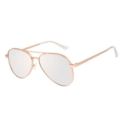 Óculos de Sol Unissex Chilli Beans Aviador Banhado A Ouro Espelhado OC.MT.2772-3295