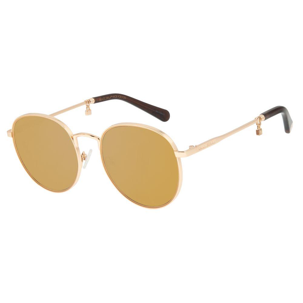 Óculos de Sol Feminino Funk-se Ludmilla Cadeado Dourado OC.MT.2992-3221