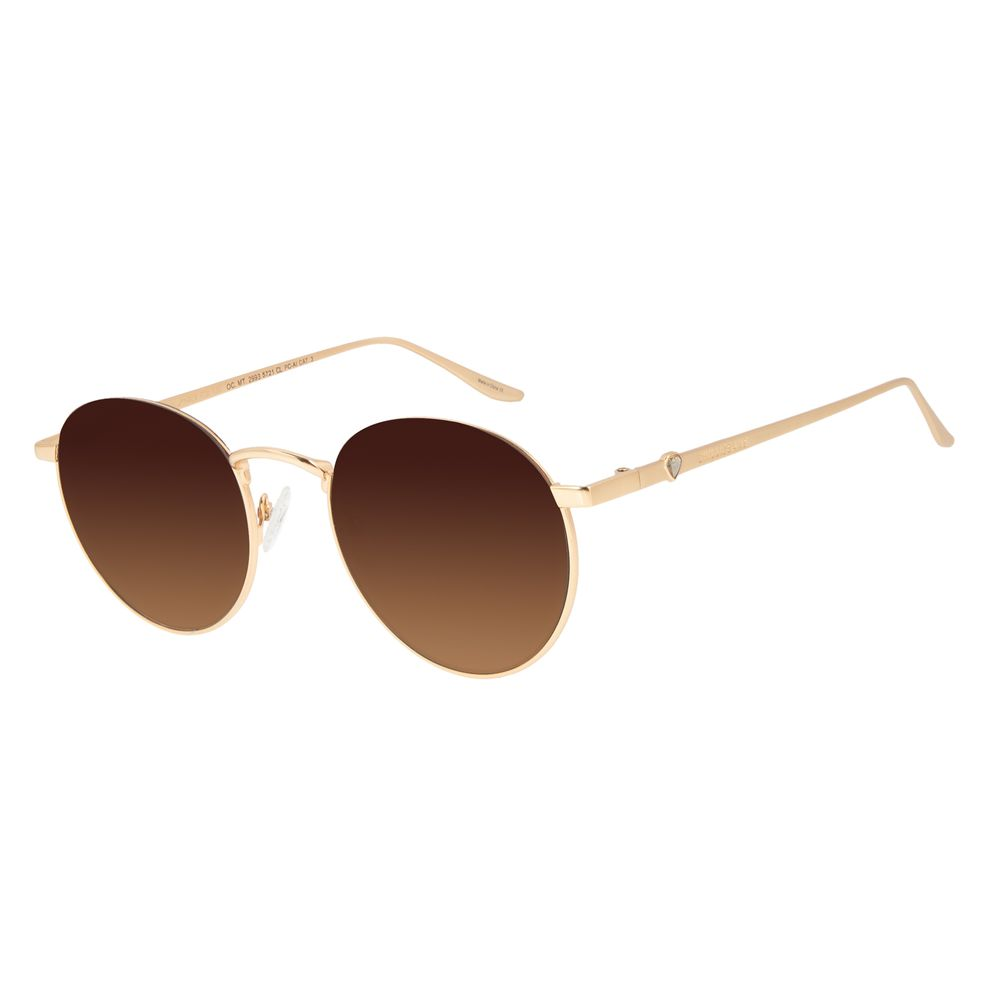Óculos de Sol Feminino Funk-se Ludmilla Diamonds Degradê Marrom Banhado a Ouro OC.MT.2993-5721