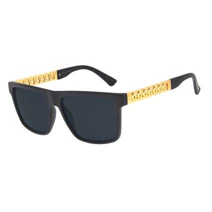 Óculos de Sol Masculino Funk-se Ludmilla Cordão de Ouro Banhado A Ouro Preto OC.CL.3169-0101