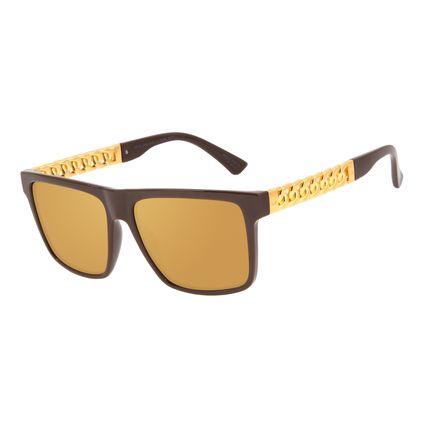 Óculos de Sol Masculino Funk-se Ludmilla Cordão de Ouro Banhado A Ouro Degradê Marrom OC.CL.3169-5702