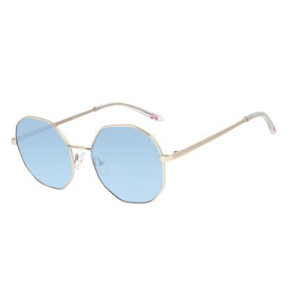 Óculos de Sol Feminino Funk-se Ludmilla Hexagonal Glitter Azul OC.MT.2999-0821