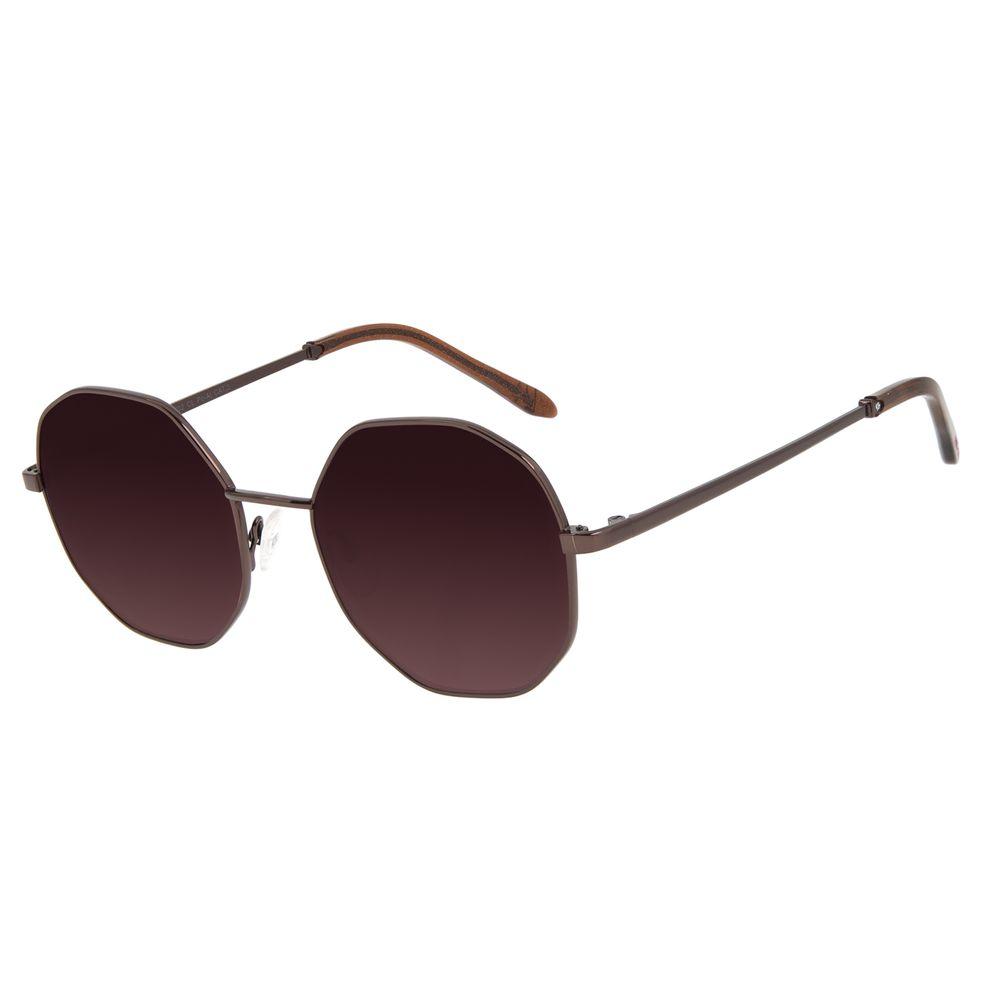 Óculos de Sol Feminino Funk-se Ludmilla Hexagonal Glitter Marrom OC.MT.2999-5702