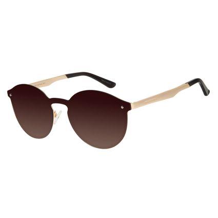 Óculos de Sol Unissex Chilli Beans Redondo Dourado Polarizado OC.MT.2932-5721