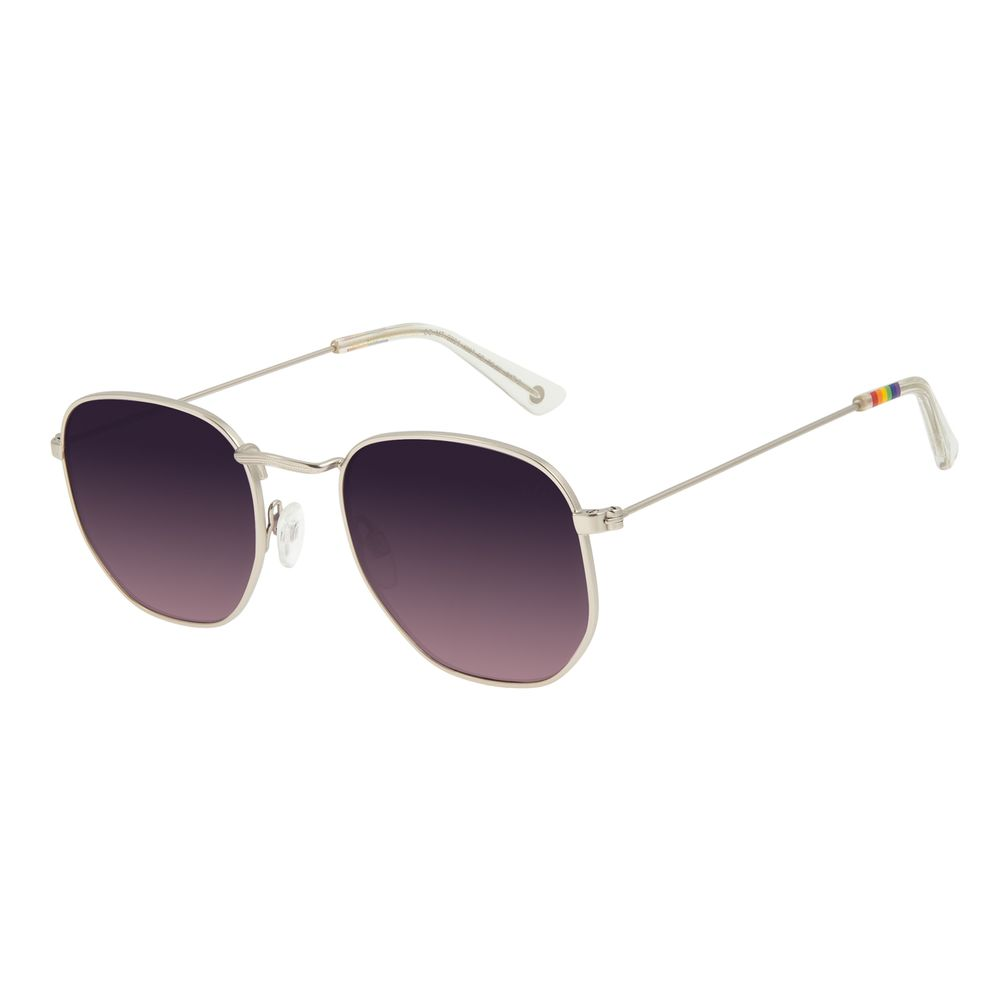 Óculos de Sol Unissex Chilli Beans True Colors Metal Redondo Prata OC.MT.2891-4007