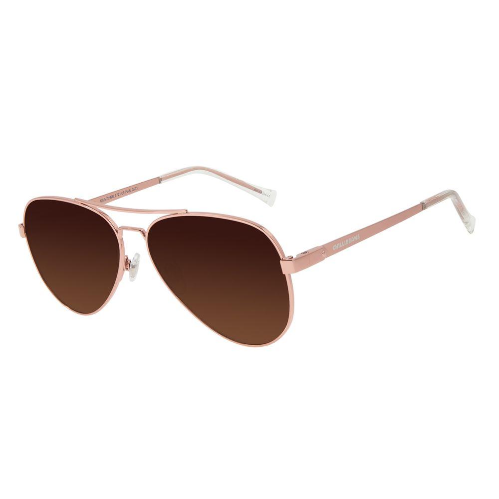 Óculos de Sol Unissex Chilli Beans Aviador Polarizado Dourado OC.MT.2890-5721