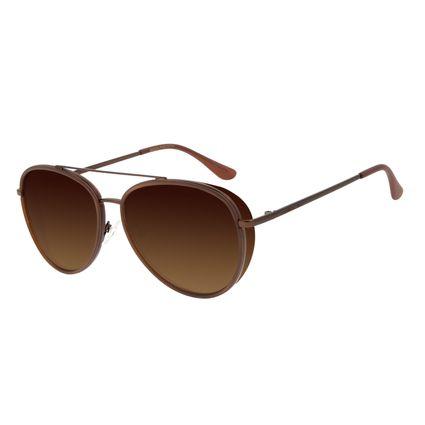 Óculos de Sol Unissex Chilli Beans Aviador Metal Flap Marrom Polarizado OC.MT.2888-5702