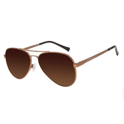 Óculos de Sol Unissex Chilli Beans Aviador Polarizado Marrom Classic OC.MT.2856-5702