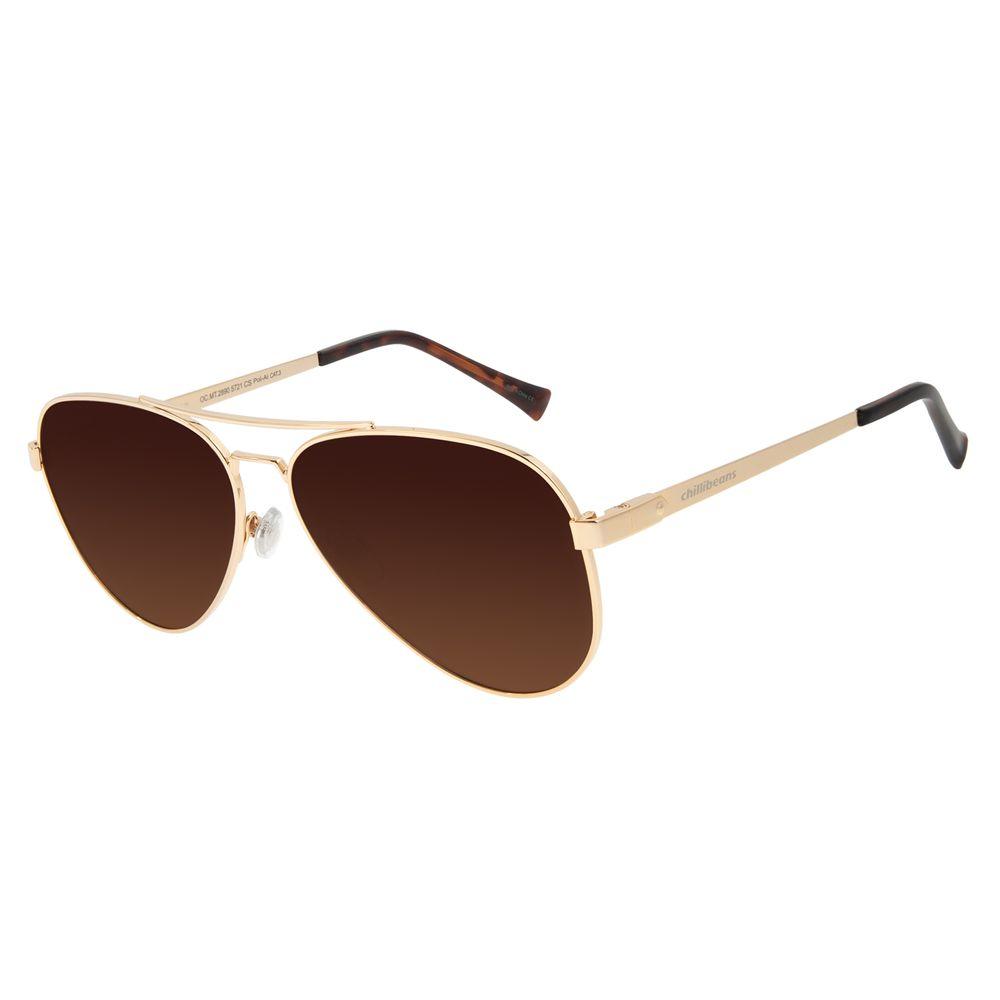 Óculos de Sol Unissex Chilli Beans Aviador Polarizado Dourado Classic OC.MT.2856-5721