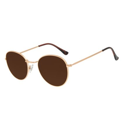 Óculos de Sol Unissex Chilli Beans Redondo Metal Dourado OC.MT.2822-0221