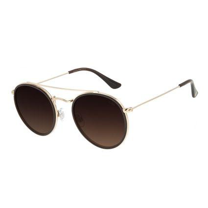 Óculos de Sol Unissex Chilli Beans Redondo Degradê Marrom OC.CL.3060-5702