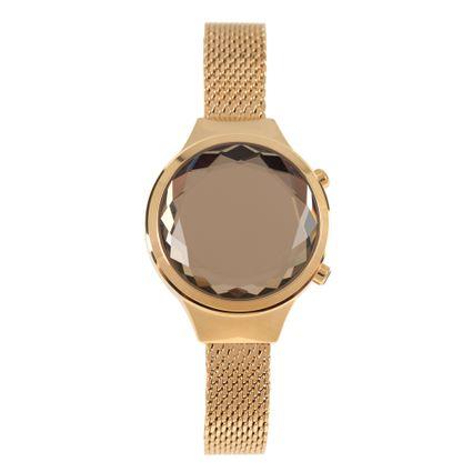 Relógio Digital Feminino Funk-se Ludmilla Facetado Metal Dourado RE.MT.1163-2121
