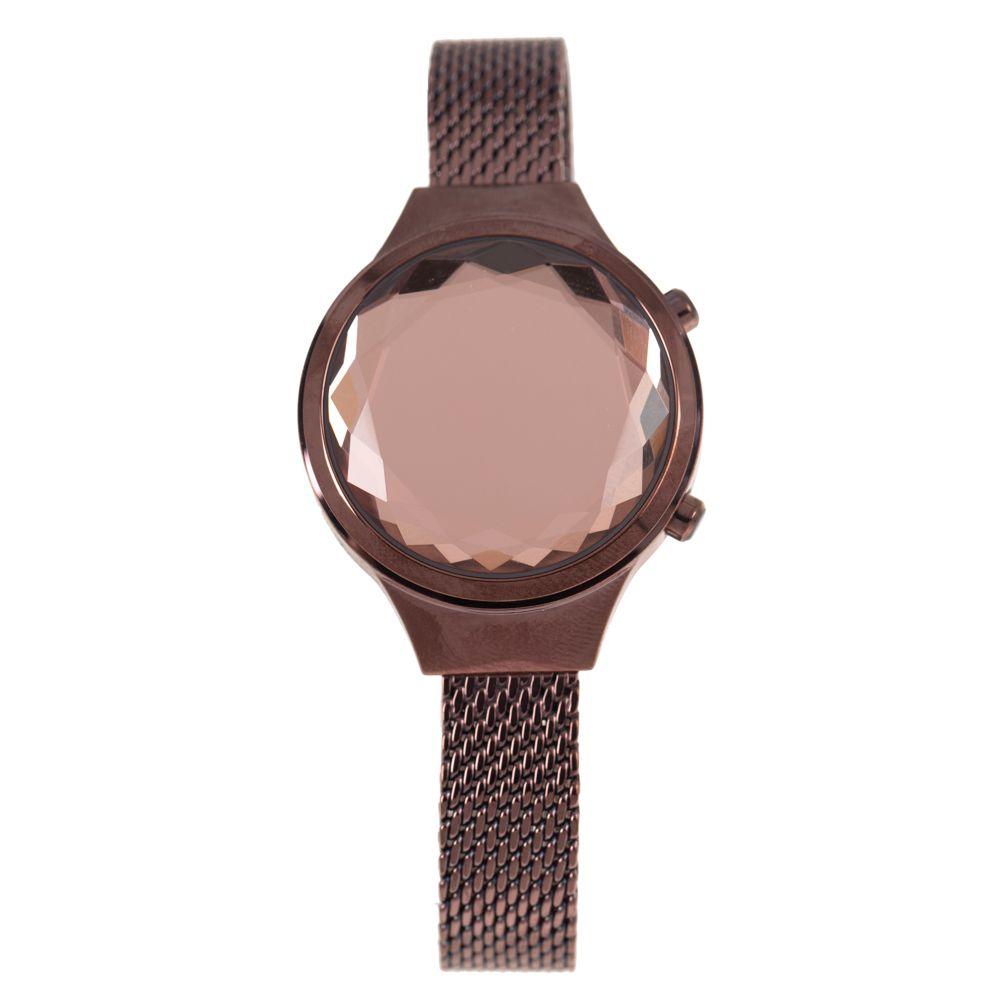 Relógio Digital Feminino Funk-se Ludmilla Facetado Metal Marrom RE.MT.1163-9502