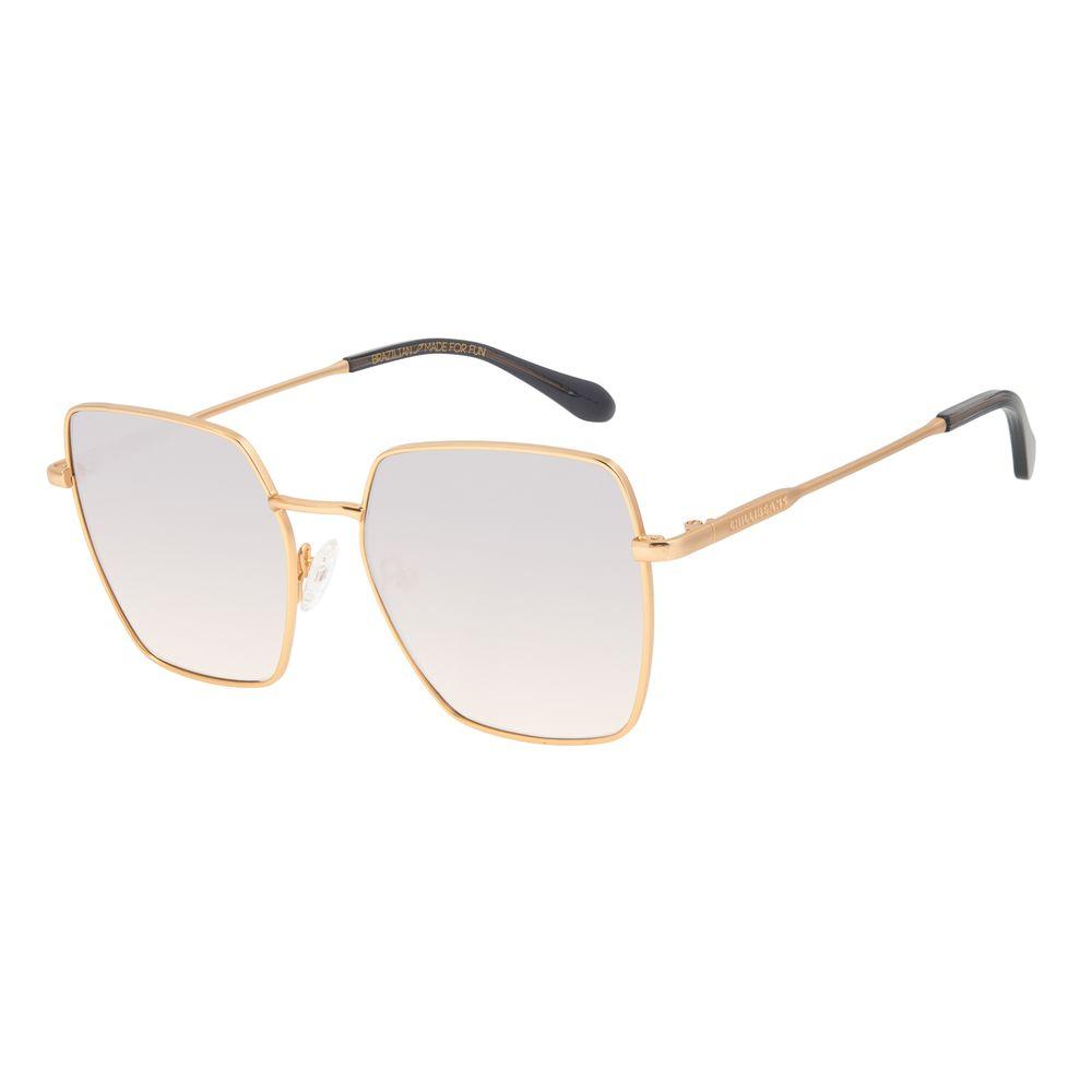 Óculos de Sol Feminino Chilli Beans Banhado a Ouro Quadrado Espelhado OC.MT.3014-3221