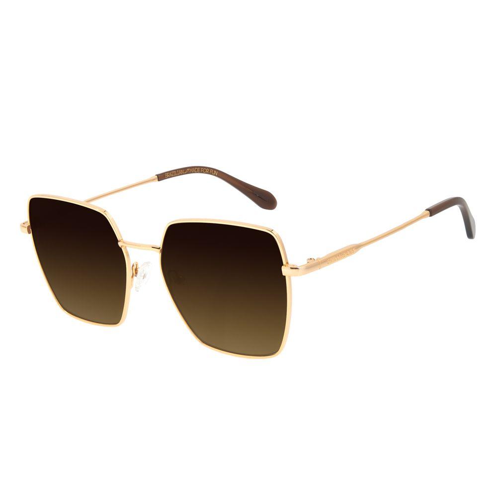 Óculos de Sol Feminino Chilli Beans Banhado a Ouro Quadrado Degradê Marrom OC.MT.3014-5721