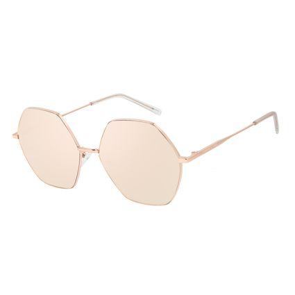 Óculos de Sol Feminino Chilli Beans Banhado a Ouro Hexagonal Rosé OC.MT.3013-0595