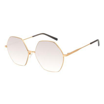 Óculos de Sol Feminino Chilli Beans Banhado a Ouro Hexagonal Espelhado OC.MT.3013-3221