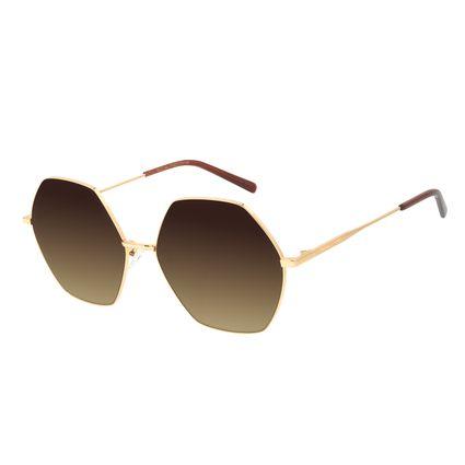 Óculos de Sol Feminino Chilli Beans Banhado a Ouro Hexagonal Degradê Marrom OC.MT.3013-5721