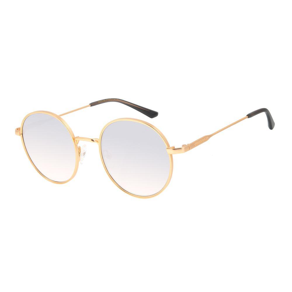 Óculos de Sol Feminino Chilli Beans Banhado a Ouro Redondo Espelhado  OC.MT.3012-3221