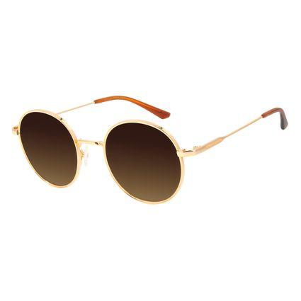 Óculos de Sol Feminino Chilli Beans Banhado a Ouro Redondo Degradê Marrom OC.MT.3012-5721