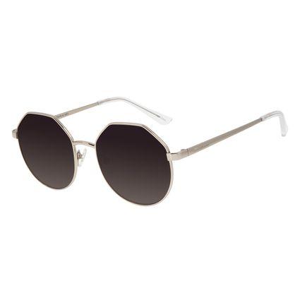 Óculos de Sol Feminino Chilli Beans Banhado a Ouro Hexagonal Prata OC.MT.3011-2007