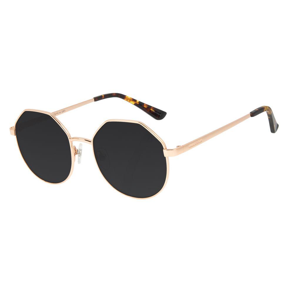 Óculos de Sol Feminino Chilli Beans Banhado a Ouro Hexagonal Dourado OC.MT.3011-5721