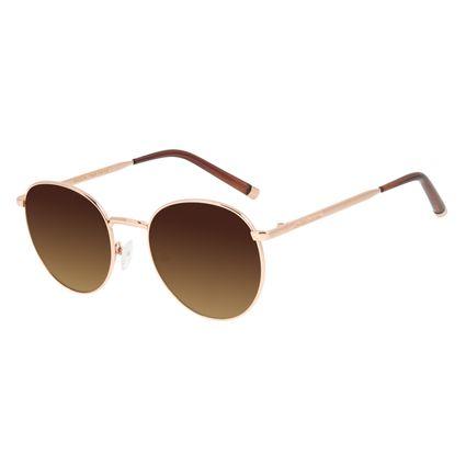 Óculos de Sol Feminino Chilli Beans Banhado a Ouro Redondo Degradê Marrom OC.MT.2986-5795