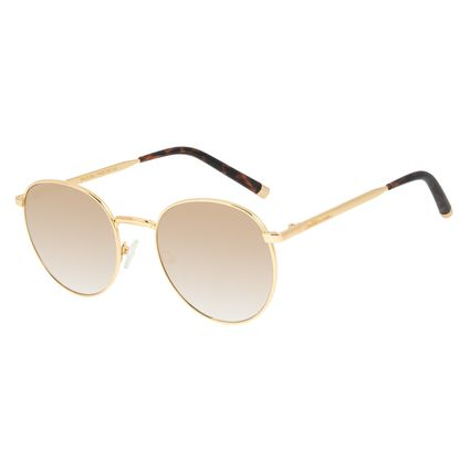 Óculos de Sol Feminino Chilli Beans Banhado a Ouro Redondo Dourado OC.MT.2986-2021